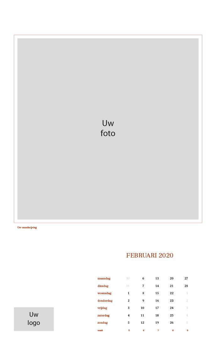 Bedrijf wandkalender 2020