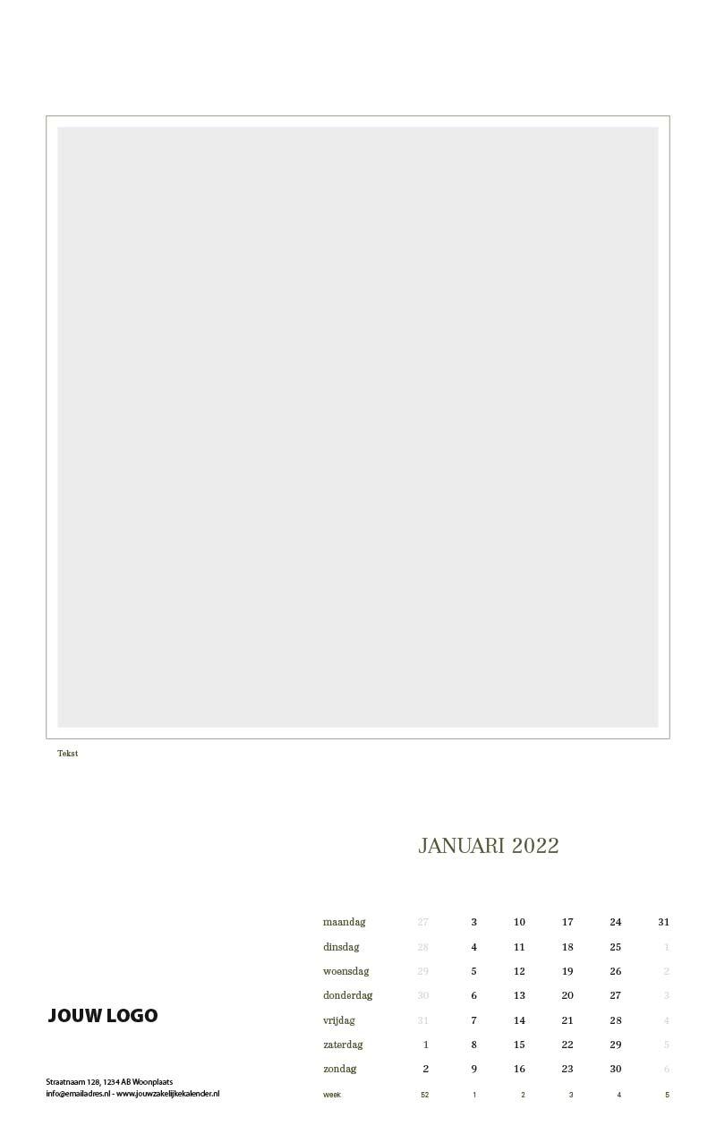 Zakelijke wandkalender met eigen beeld